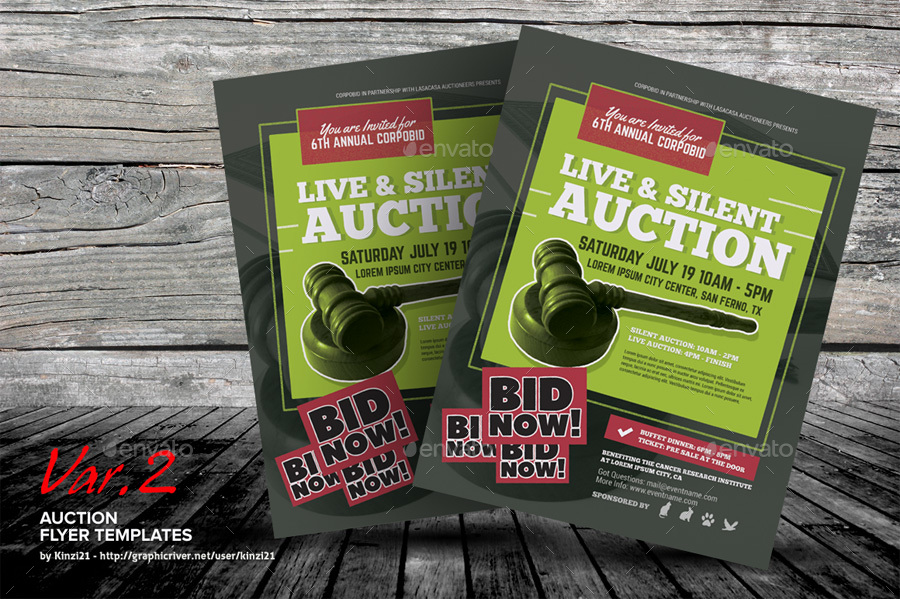auction flyer templates by kinzi21