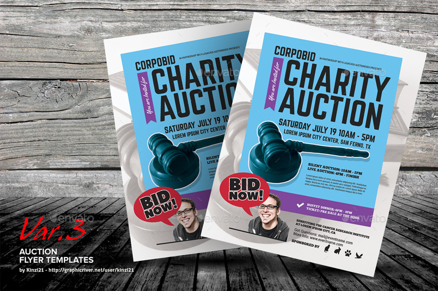 auction flyer templates by kinzi21 graphicriver