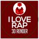 I Love Rap Statue 3D Render