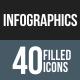 Infographics Flat Round Corner Icons