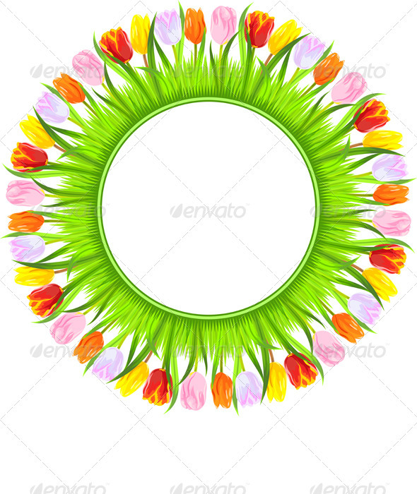 Vector Round Frame of Colorful Spring Tulips - Flourishes / Swirls Decorative