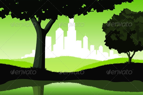 Night Landscape with Trees and City - Landscapes Nature