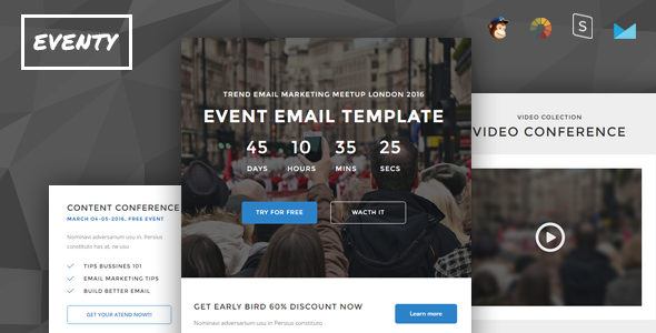 Eventy - Event Conference Responsive Email + StampReady Builder