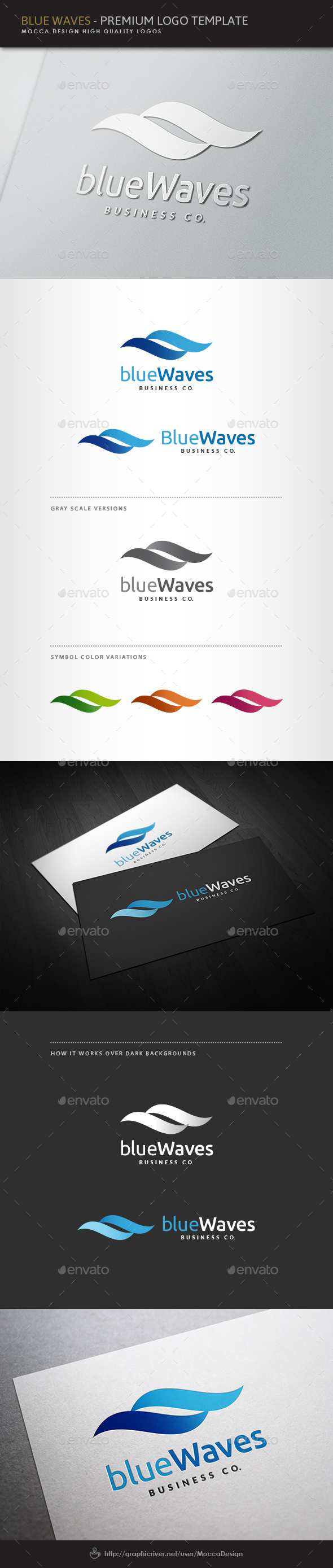 Blue Waves Logo - Nature Logo Templates