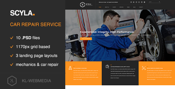 Scyla - Car Repair Service PSD template - Miscellaneous PSD Templates