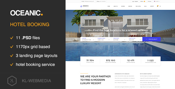Oceanic – Hotel Booking PSD template