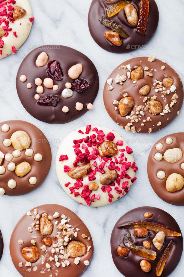 Luxury Handmade Chocolate Mediants, Cookies, Bites, Candies. - Stock Photo - Images