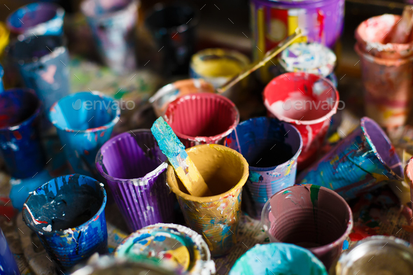 multicolored cans with paint, arts background - Stock Photo - Images