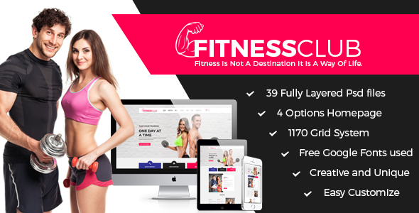 Fitness Club - Professional Fitness Services PSD - Miscellaneous PSD Templates