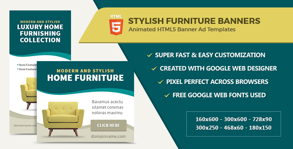 Furniture Home Decor Banner Ads   HTML5 GWD   CodeCanyon Item For Sale