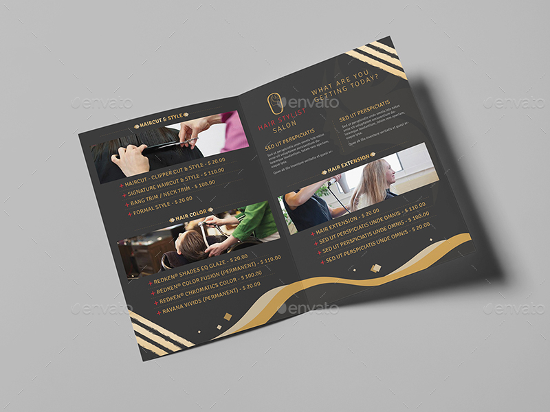 Hair Stylist Salon A Brochure Template By Wutip GraphicRiver - A5 brochure template