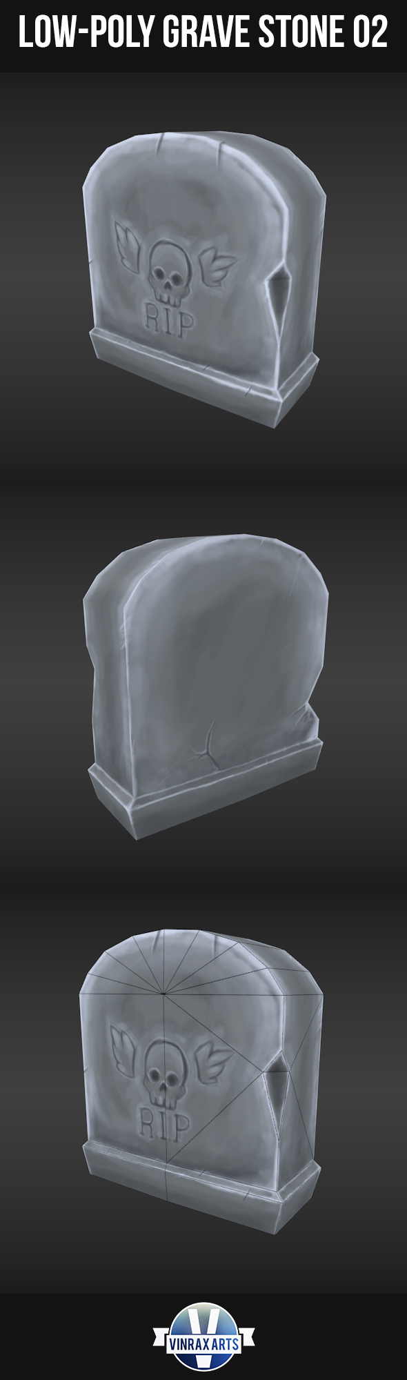 Low-Poly Grave Stone 02 - 3DOcean Item for Sale
