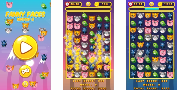 Funny Faces Match3 - HTML5 Game + Android + AdMob (Capx) - CodeCanyon Item for Sale