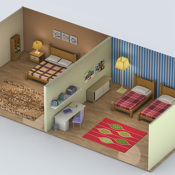 Low Poly Bedrooms - 3DOcean Item for Sale