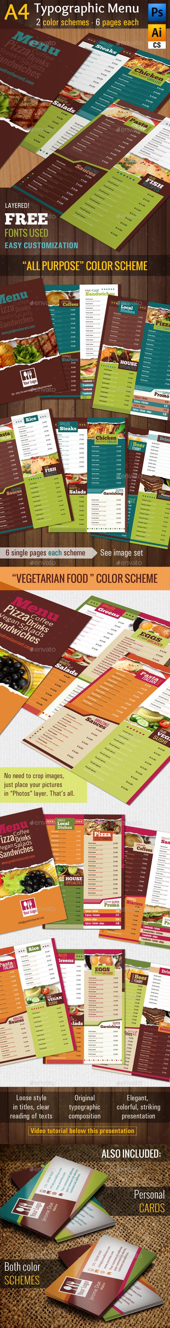 A4 Typographic Menu | All Purpose & Vegan Food - Food Menus Print Templates