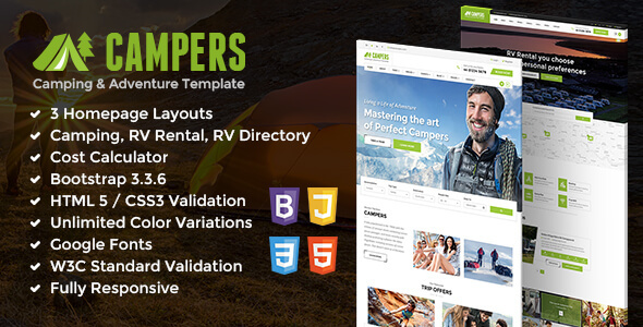 Campers – Camp Ground, Carvan & Adventure Site Template