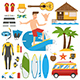 Surfing Trip Elements - GraphicRiver Item for Sale