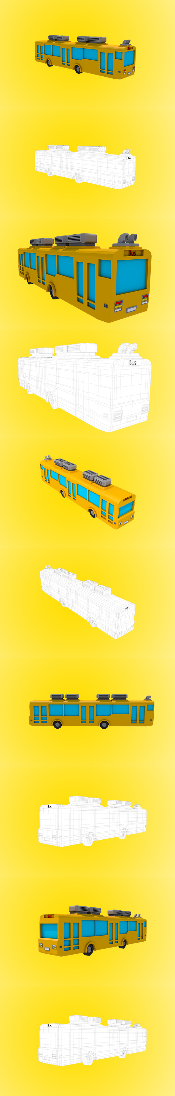 Low Poly Bus - 3DOcean Item for Sale