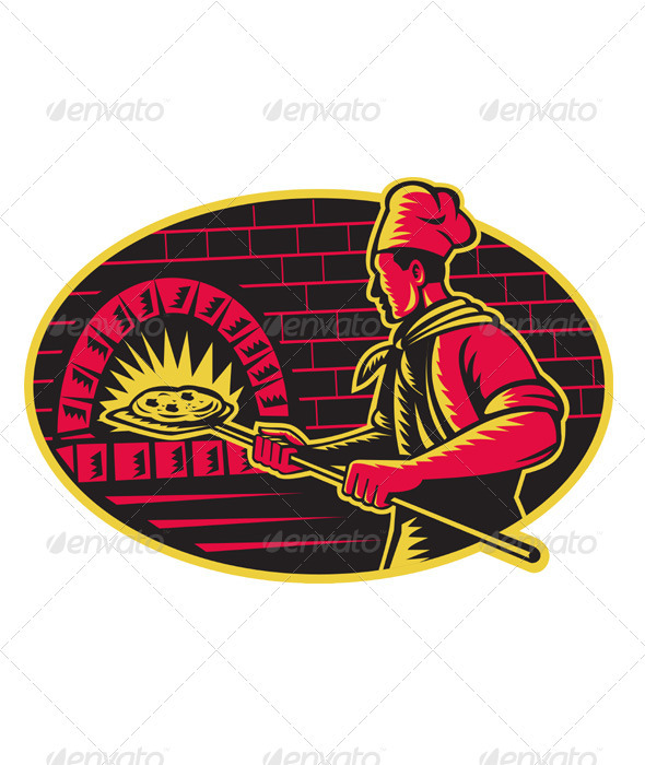 Baker Baking Pizza Wood Oven Woodcut - People Characters