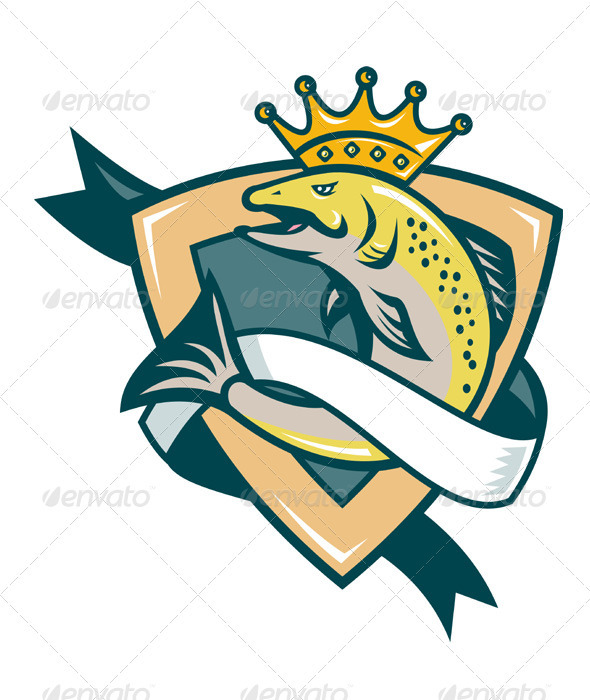 King Salmon Fish Jumping Shield Retro - Animals Characters