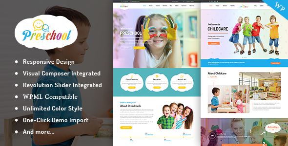 Preschool - Nurseries Kindergarten and School WordPress Theme - Education WordPress