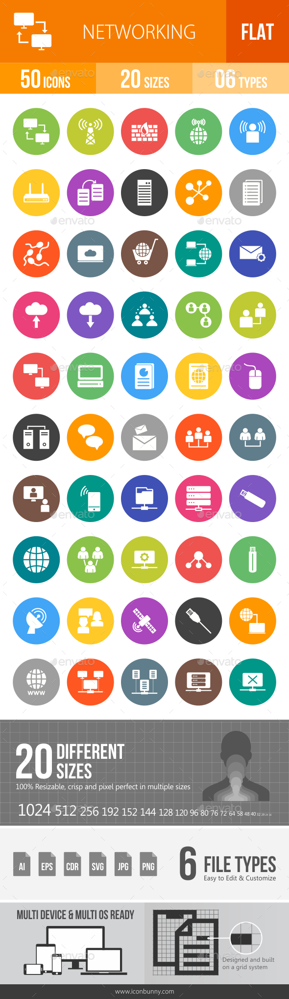 Networking Flat Round Icons - Icons