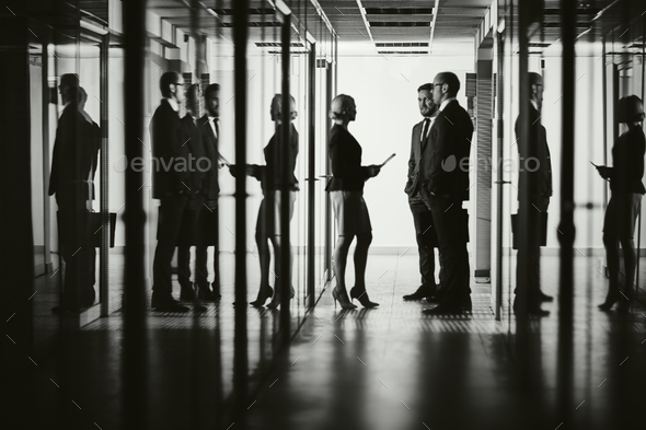 Colleagues in corridor - Stock Photo - Images