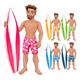 Surfer Boy in Different Colors - GraphicRiver Item for Sale