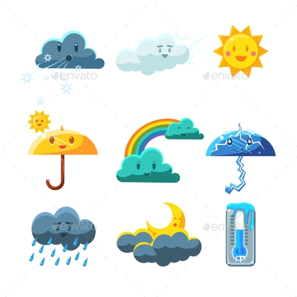 Weather Forecast Elements Set - Monsters Characters