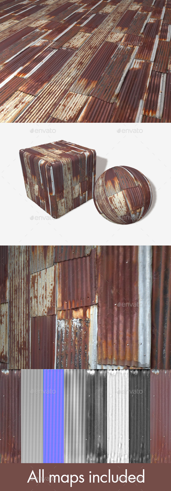 Corrugated Metal Shack Seamless Texture - 3DOcean Item for Sale