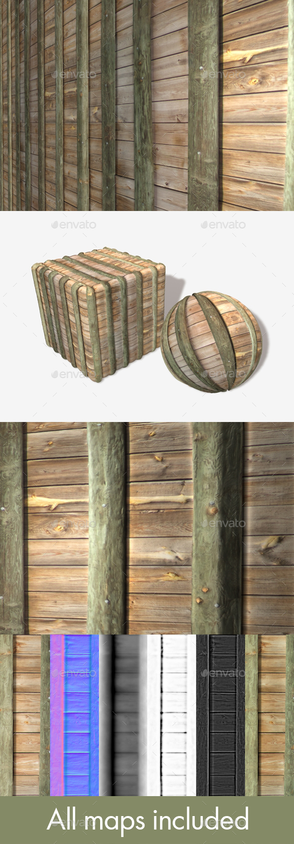 Wooden Barrier Wall Seamless Texture - 3DOcean Item for Sale
