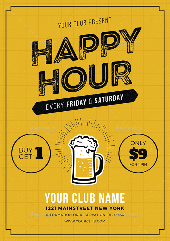 Happy Hour Beer Promotion Flyer Poster By Vynetta