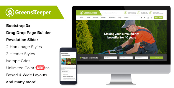 GreensKeeper – Gardening & Landscaping Responsive WordPress Theme
