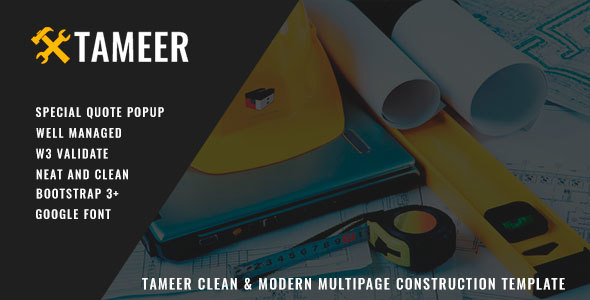 Tameer Clean & Modern Multipage Construction/Cleaning Template