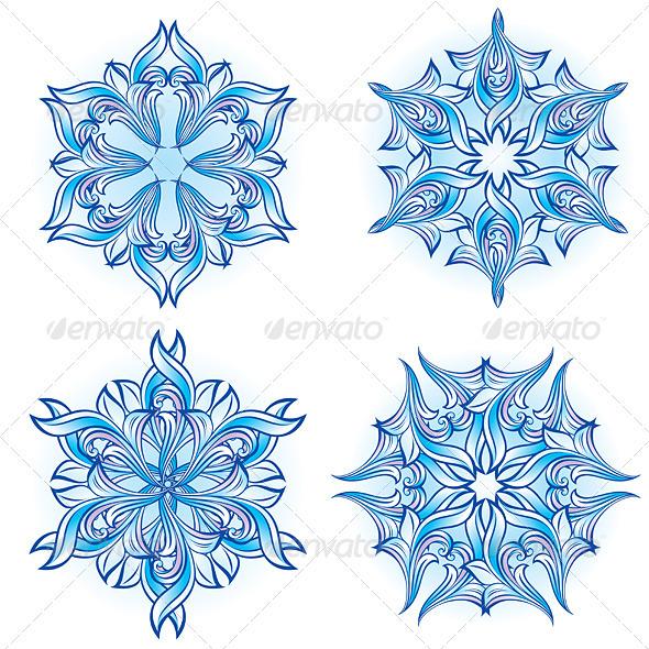Set of Snowflakes - Characters Vectors