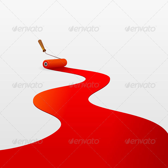 Red Paint and Roller - Objects Vectors