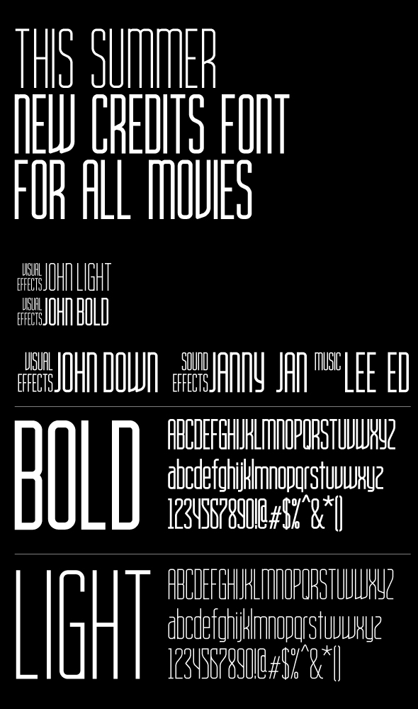 movie title ah condensed bold and light font family by