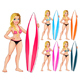 Surfer Girl in Different Colors - GraphicRiver Item for Sale