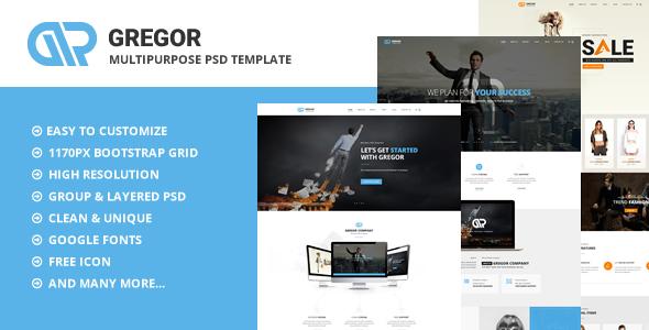 Gregor - Multipurpose PSD Template - Corporate PSD Templates