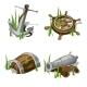 Anchor, Steering Wheel, Gun, And Wooden Barrel