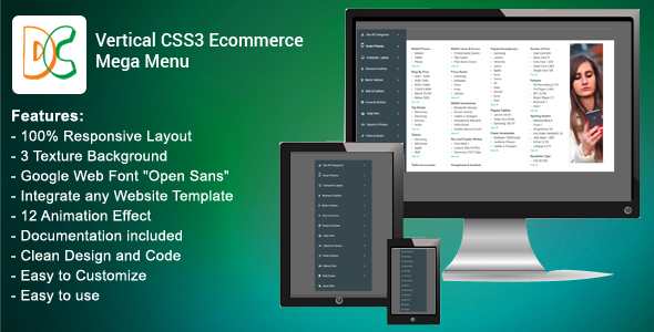 Vertical CSS3 Ecommerce Mega Menu - CodeCanyon Item for Sale