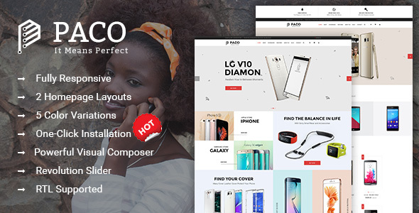 Paco – Responsive  Woocommerce WordPress Digital Theme