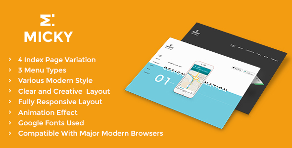App Landing – Responsive App Landing Page Template – Micky