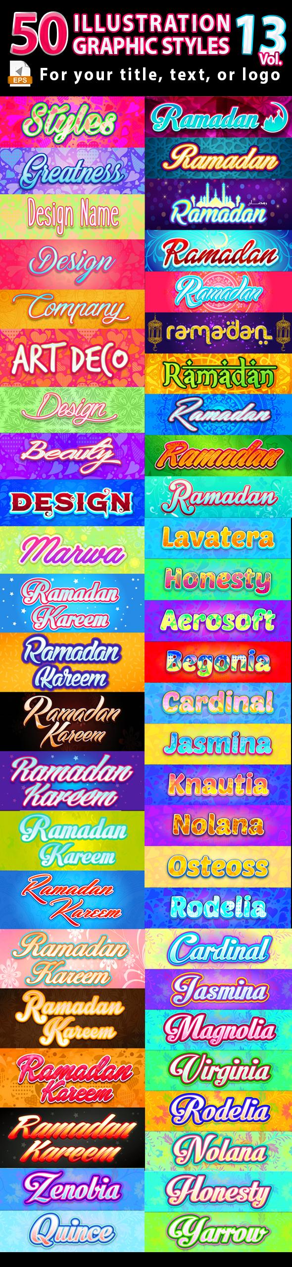 50 Illustrator Graphic Styles Vol.13 - Styles Illustrator