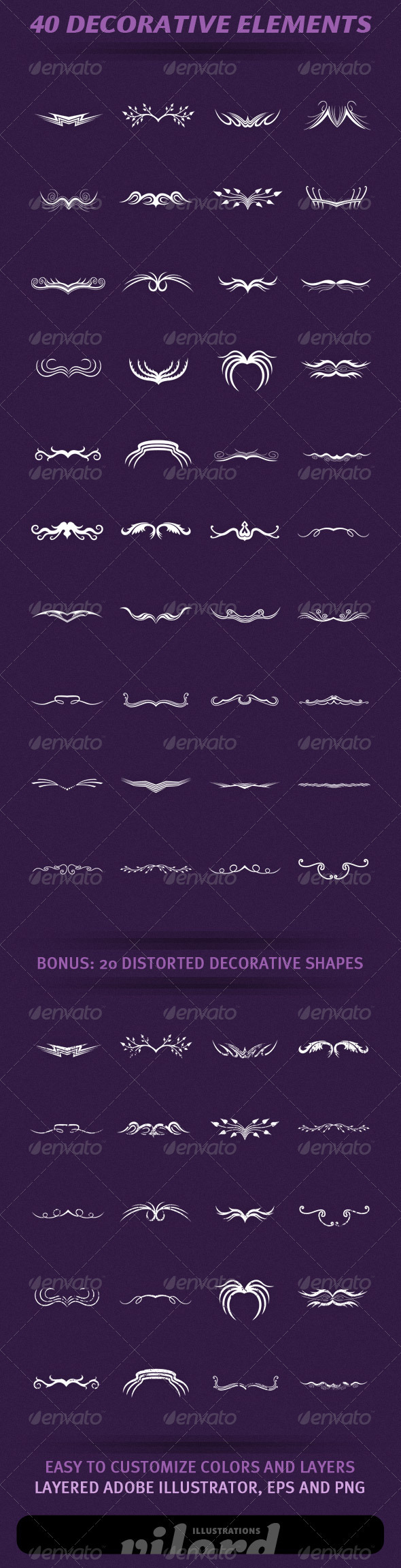 40 Decorative Elements - Decorative Vectors
