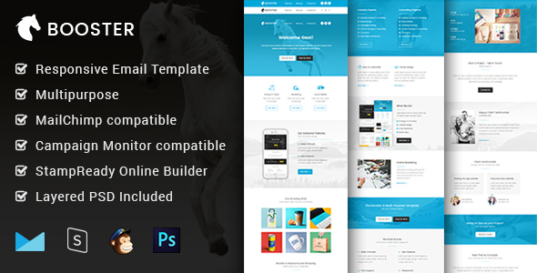Booster - Multipurpose & Responsive Email Template + Builder - Email Templates Marketing
