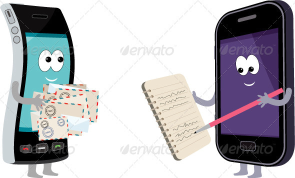 Two smart phones with envelopes and a notebook. - Communications Technology