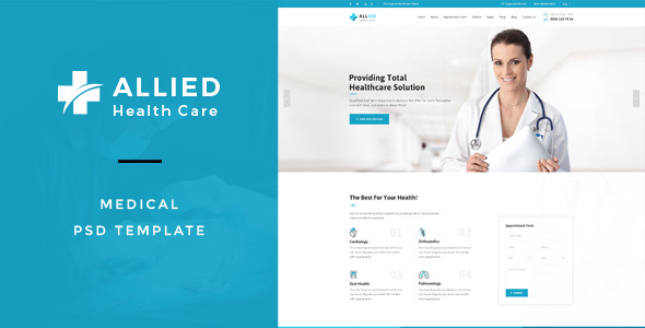 Allied Health Care : Medical PSD Template - Health & Beauty Retail