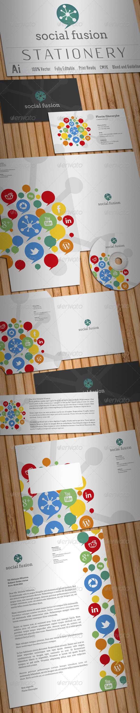 Social Fusion Stationery - Stationery Print Templates