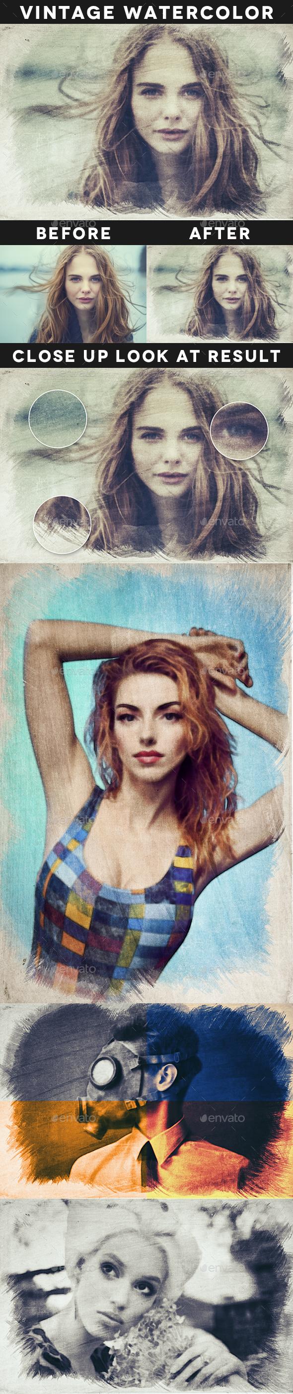 Vintage Watercolor Effect - Artistic Photo Templates